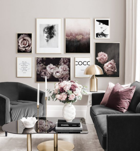 Classy fashionable gallery wall pink black white posters golden frames