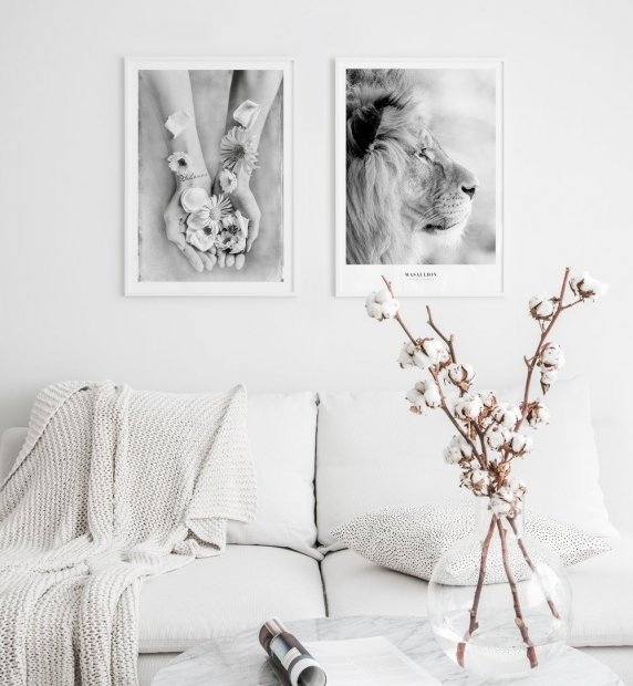 Gallery wall in white Love Warriors Lion poster
