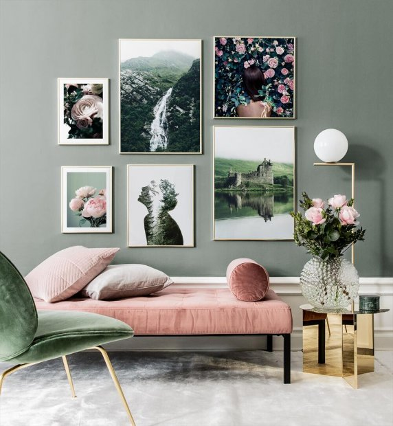 Posters with motifs in green and light pink tones
