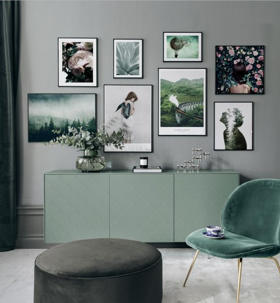 Green interior with gallery wall and posters
