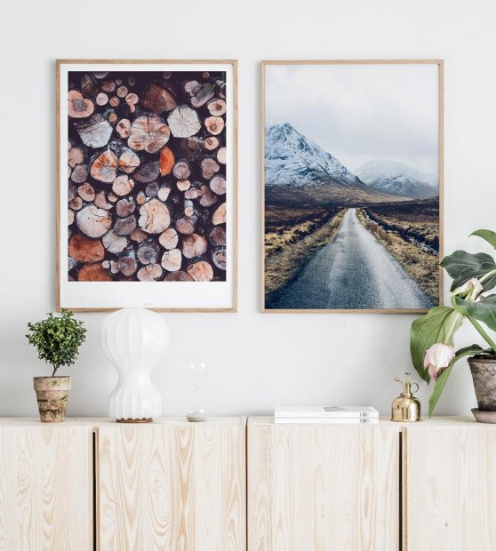 Gallery wall with oak frames and nature posters