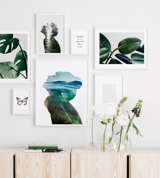 Gallery wall green colours white wood frames
