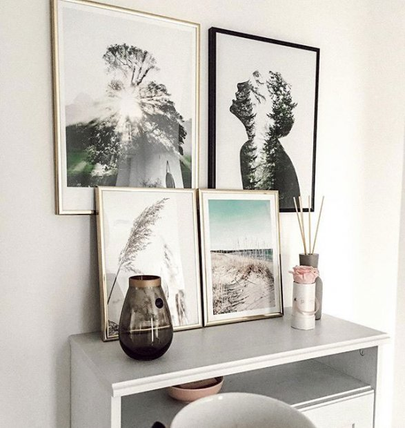 Stylish gallery wall with nature posters