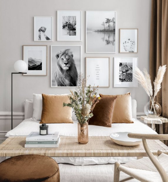 Beige Gallery Wall in earthy colours with black and white posters