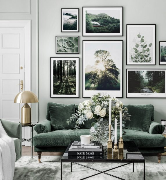 Green gallery wall with nature posters and black frames