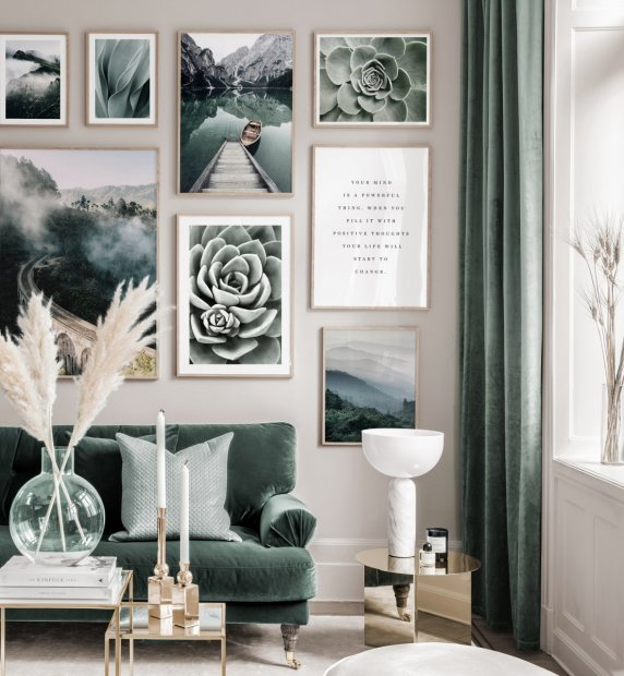 Classy gallery wall nature posters landscapes oaken frames