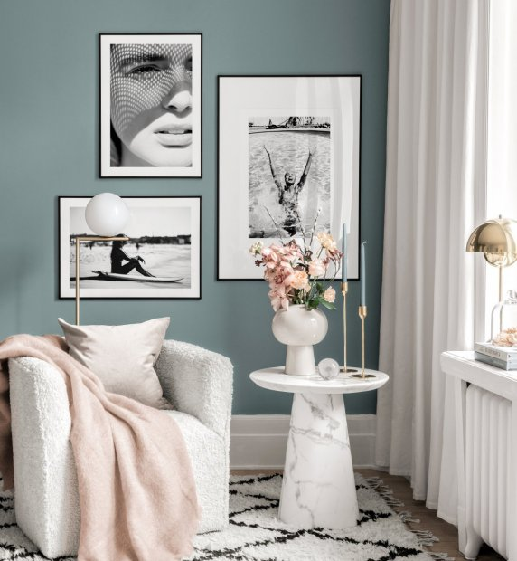 Summery black white gallery wall black metal frames