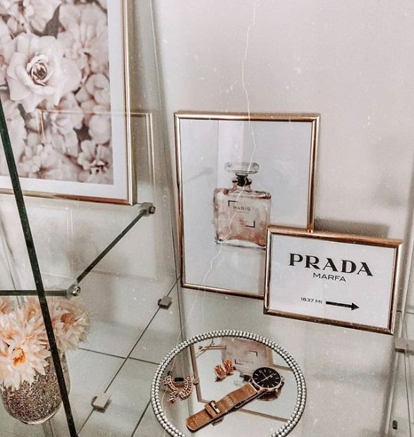 Fashion posters and pink flower prints copper frames