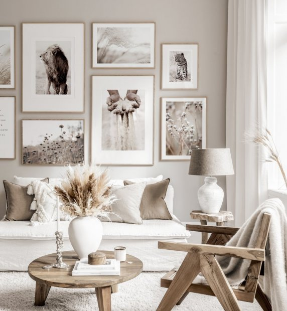 Beautiful gallery wall mindfulness posters beige white interior oaken frames