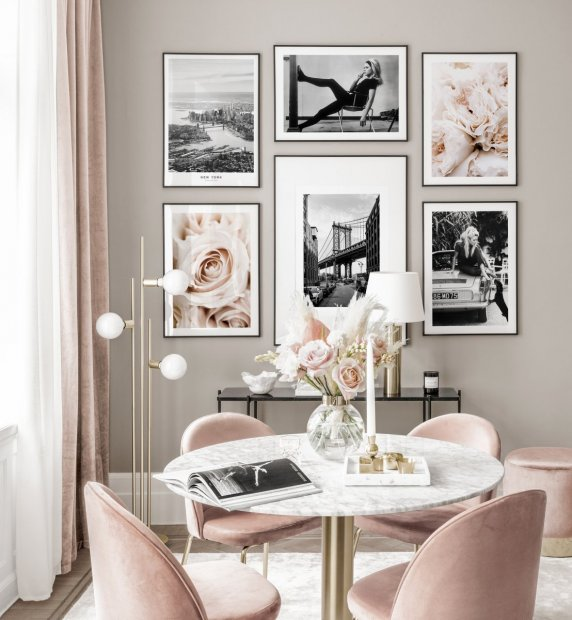 Stylish gallery wall vintage posters flower prints pink interior black metal frames