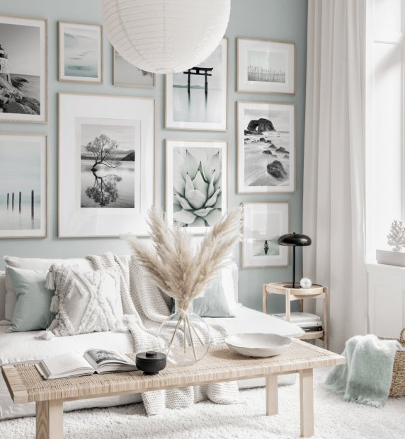 Mindfulness gallery wall nature posters light blue beige interior oak frames