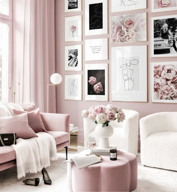 Pink flower gallery wall abstract posters golden frames