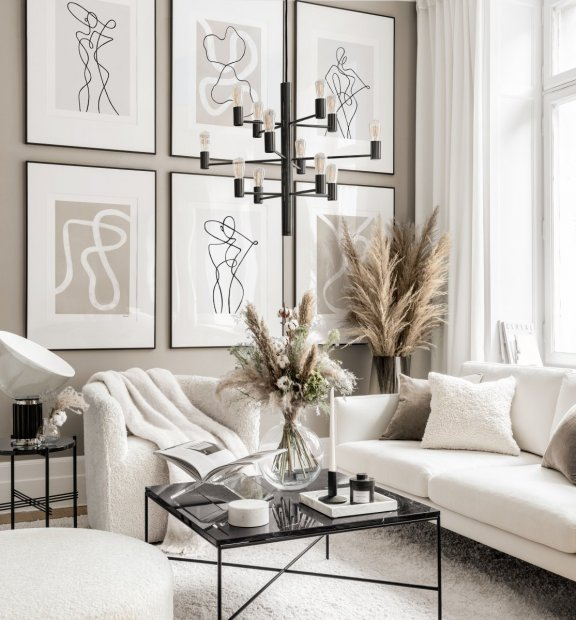 Abstract gallery wall art beige interior peytil posters line art black metal frames