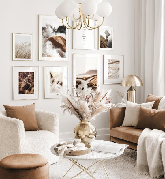 Harmonious gallery wall art beige living room abstract nature posters golden frames