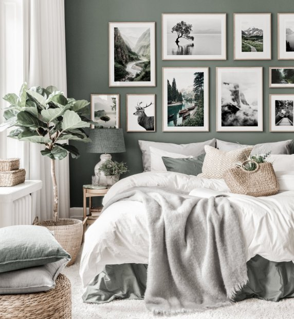 Nature inspired gallery wall art green bedroom black white posters oak frames