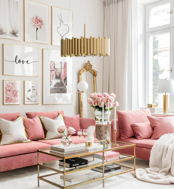 Dreamy pink gallery wall love prints pink wall art golden frames
