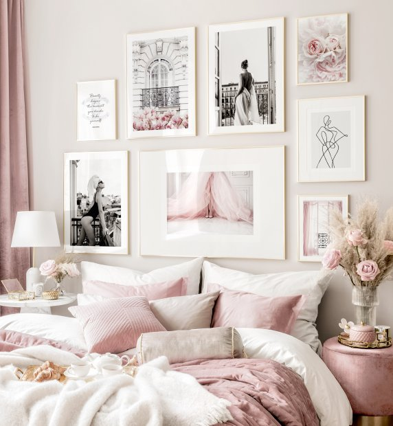 Fashion gallery wall pink bedroom black and white posters golden frames
