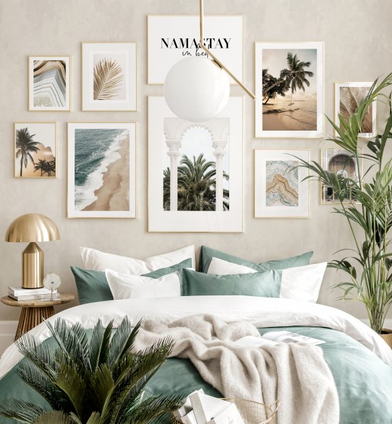 Beautiful boho gallery wall palm prints boho bedroom