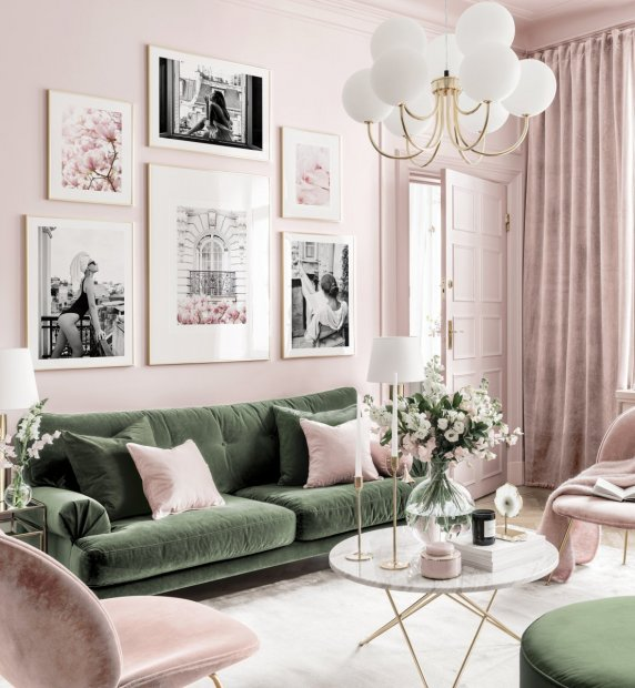 Stylish art gallery wall pink-green living room black and white posters golden frames