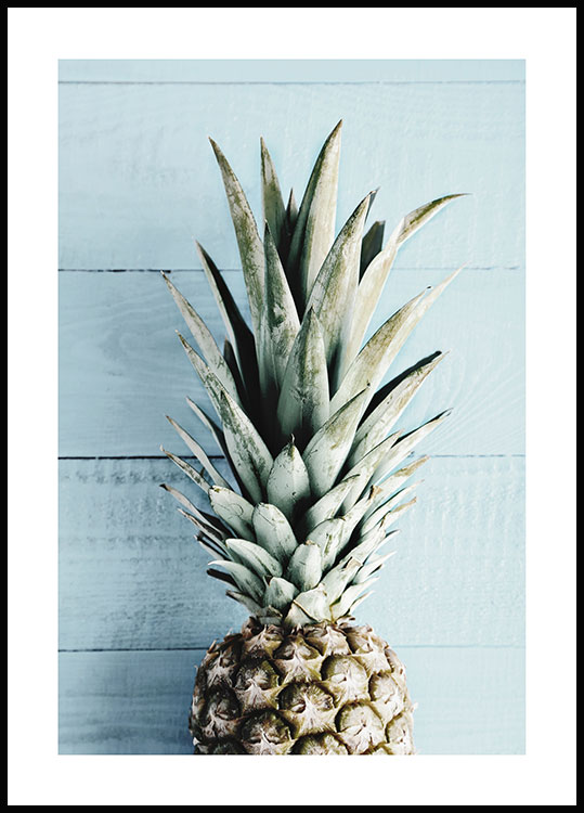 Blue Wall Pineapple Poster