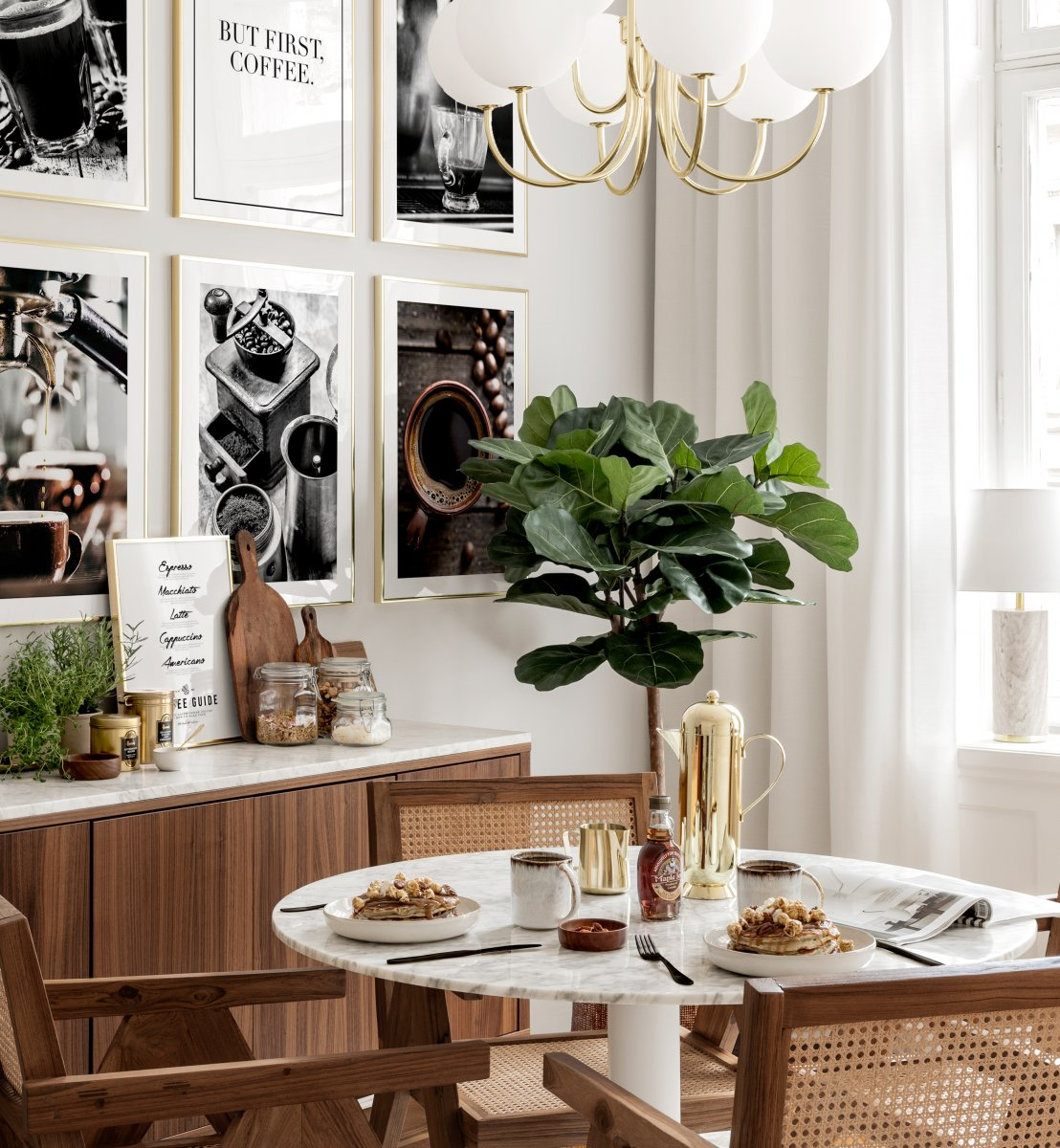 Dining Room Wall Art Coffee Posters Golden Frames Gallery Wall Inspiration Posterstore Co Uk