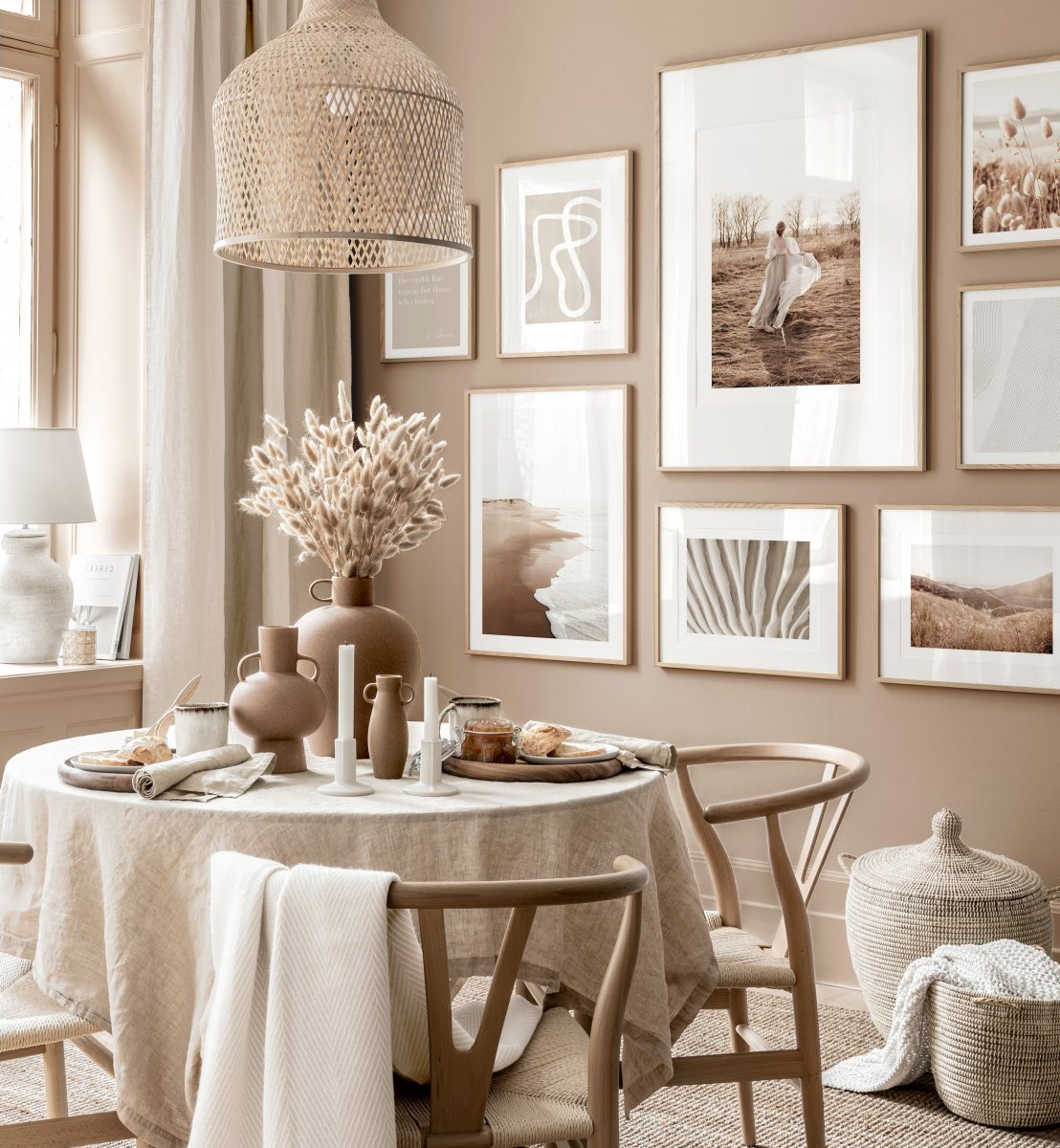 Beige Dining Room Wall Art Mindfulness Posters Oak Frames Gallery Wall Inspiration Posterstore Co Uk